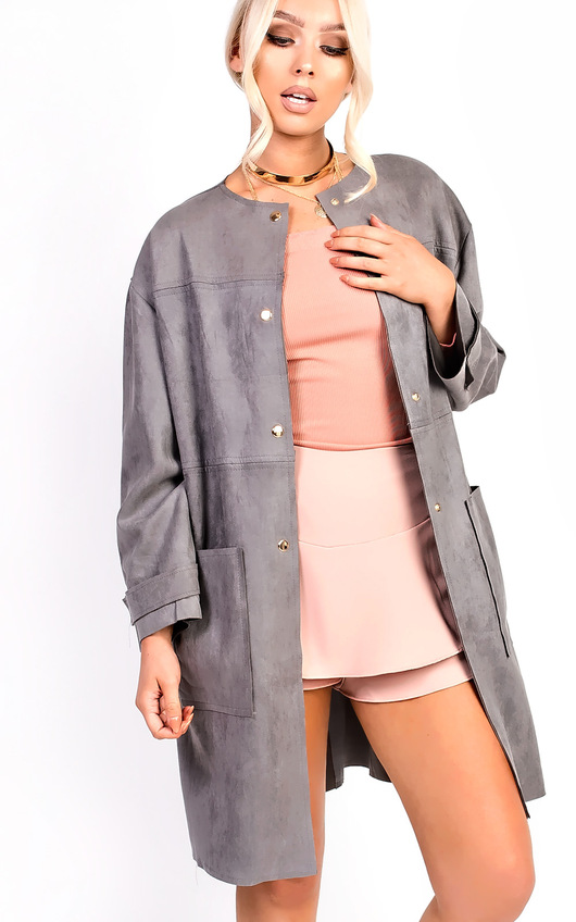 Carmellia Collarless Faux Suede Jacket
