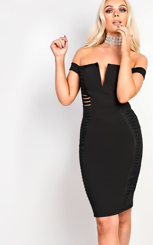 Zara Off Shoulder Bodycon Dress in Black  ee5ac36ce