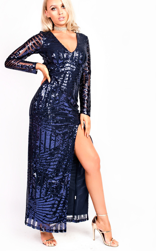 556bc933caf5 Olivia Sequin Plunge Evening Maxi Dress. HOVER ITEM TO ZOOM