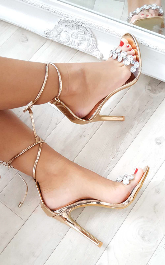 cdeacad6209565 Jalena Jewelled Clear Strap Heels in Rose gold