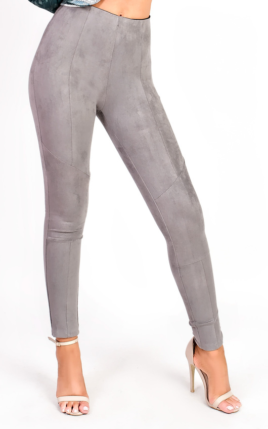 Carli High Waist Faux Suede Leggings In Grey Ikrush