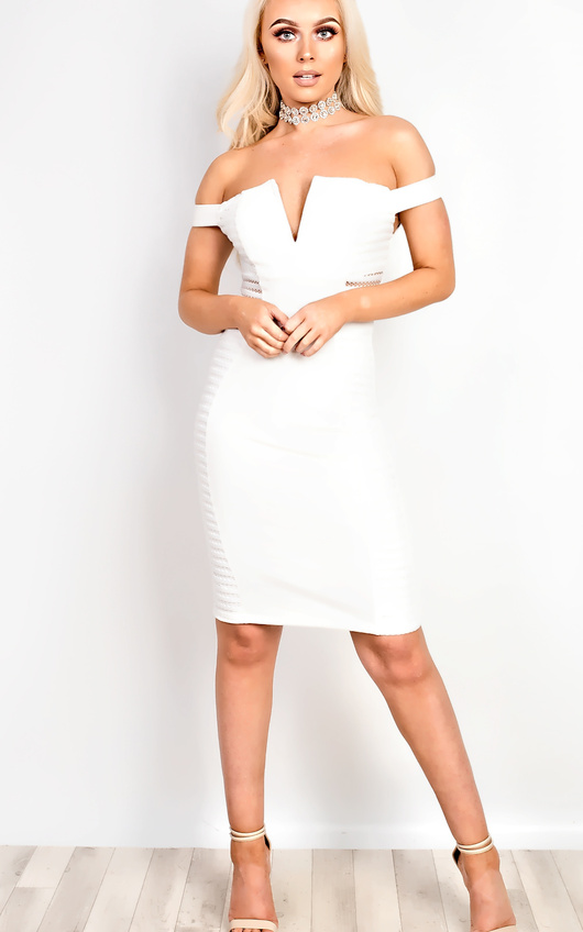 e35796781616 Zara Off Shoulder Bodycon Dress in Cream | ikrush