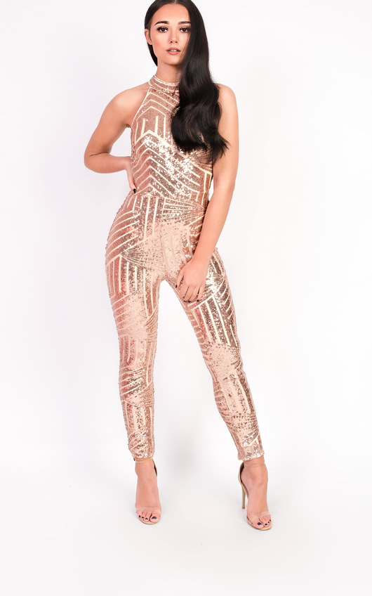 9c897cb0a17e Kady Fitted Sequin High Neck Jumpsuit. HOVER ITEM TO ZOOM