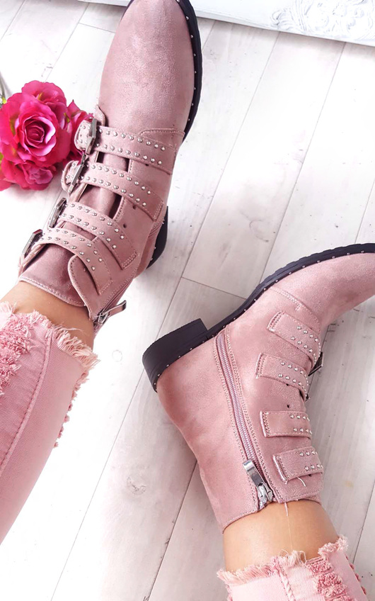 6462994a7a3 Alexis Studded Buckle Faux Suede Ankle Boots in Pink