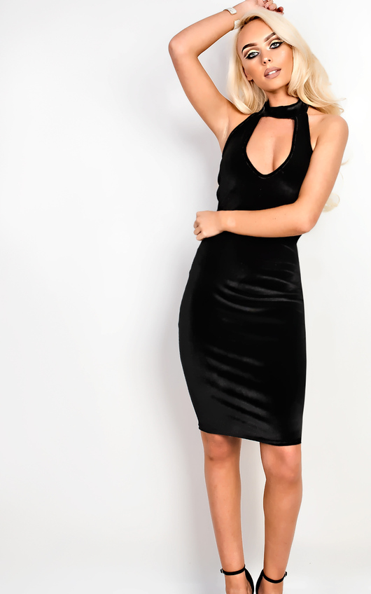 9ac925b001fd Cailey Velour Choker Neck Bodycon Dress. HOVER ITEM TO ZOOM