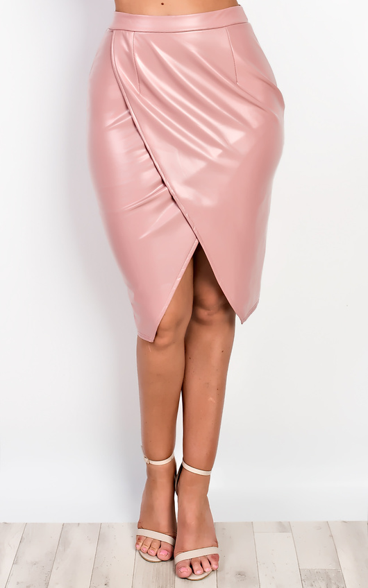 b652a9d978 Atlanta Faux Leather Skirt in Dark pink | ikrush