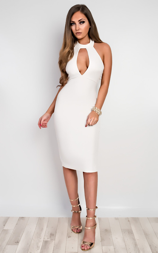 64973cca59 Casey Choker Neck Bodycon Dress in White