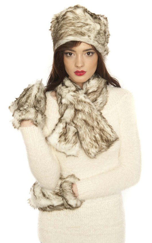 725bc9bd1b38a Hollie Wolf Faux Fur Scarf Hat And Glove Set in Wolf