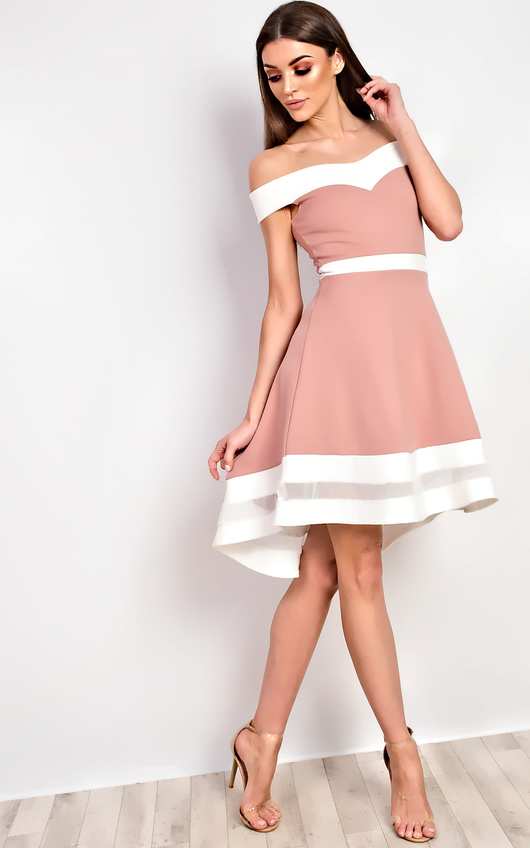 6f0bb2fb48b Jess Off Shoulder Skater Dress in Dark pink