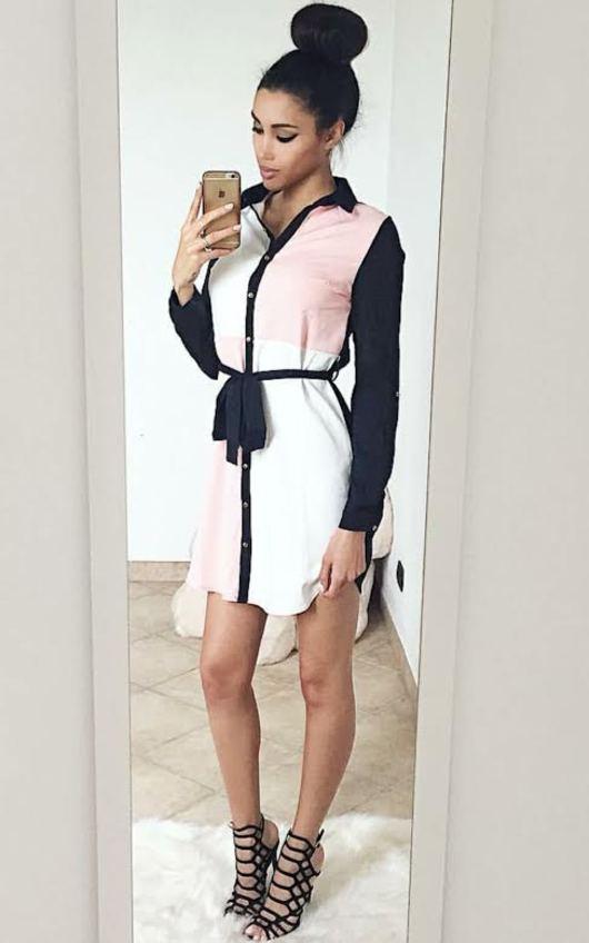 Fifer Block Colour Shirt Dress in Blush  eaa781eef