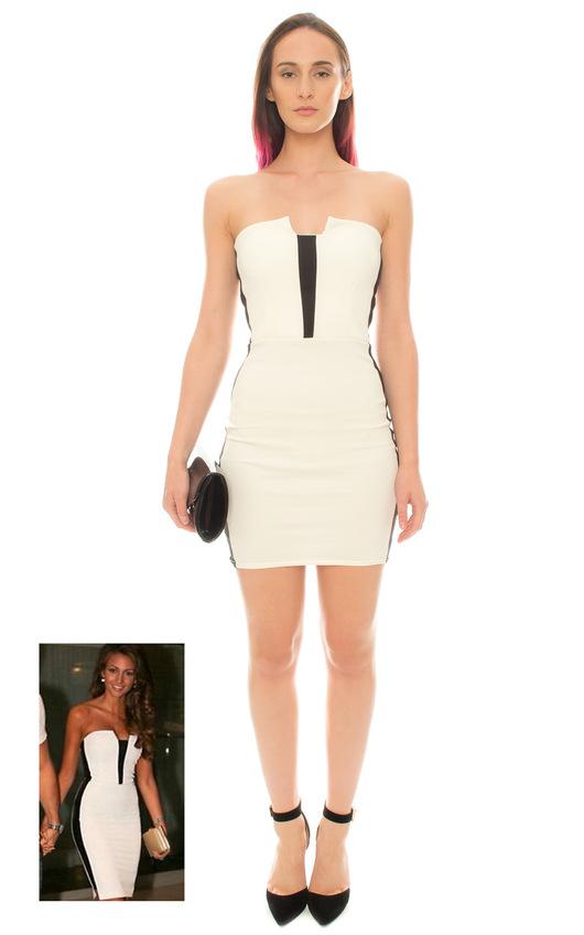 108e47fb Zara Strapless Bodycon Dress in Cream | ikrush