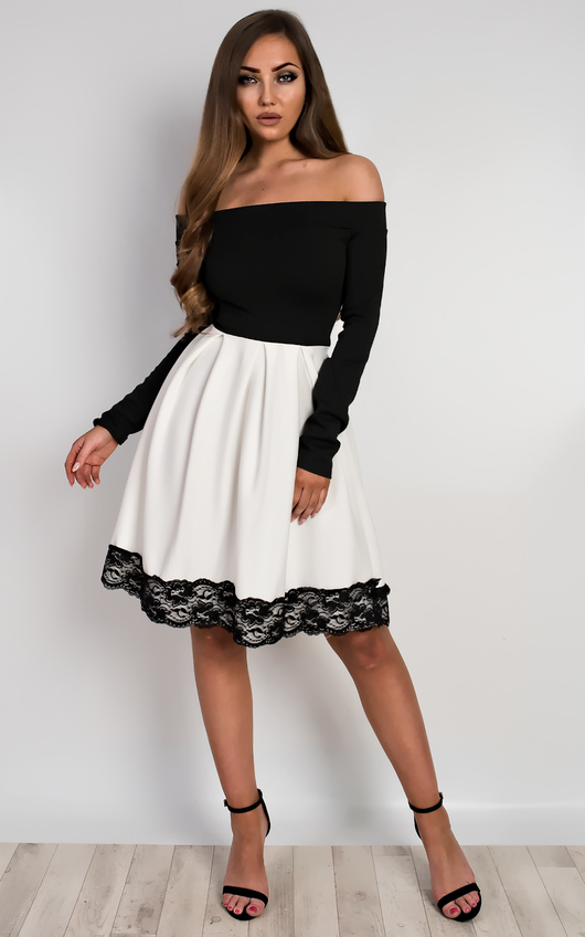 ac62d06deff Caitlin Off Shoulder Skater Dress in White