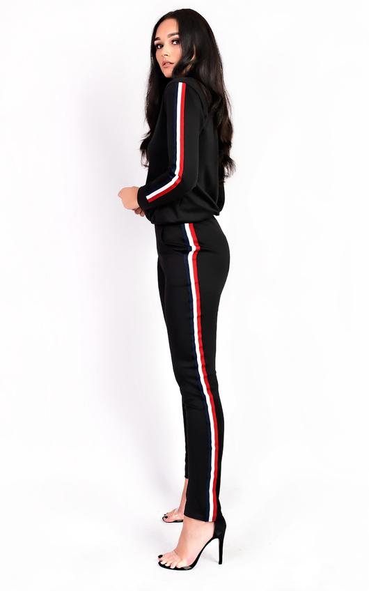 kimmi stripe slim fit tracksuit in black ikrush
