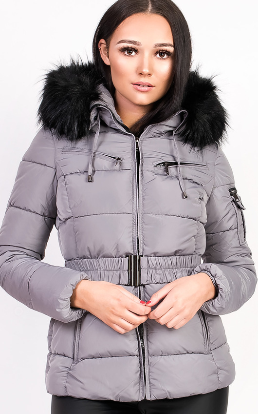 5256dce87ae68 Hadid Padded Faux Fur Hooded Jacket in Grey