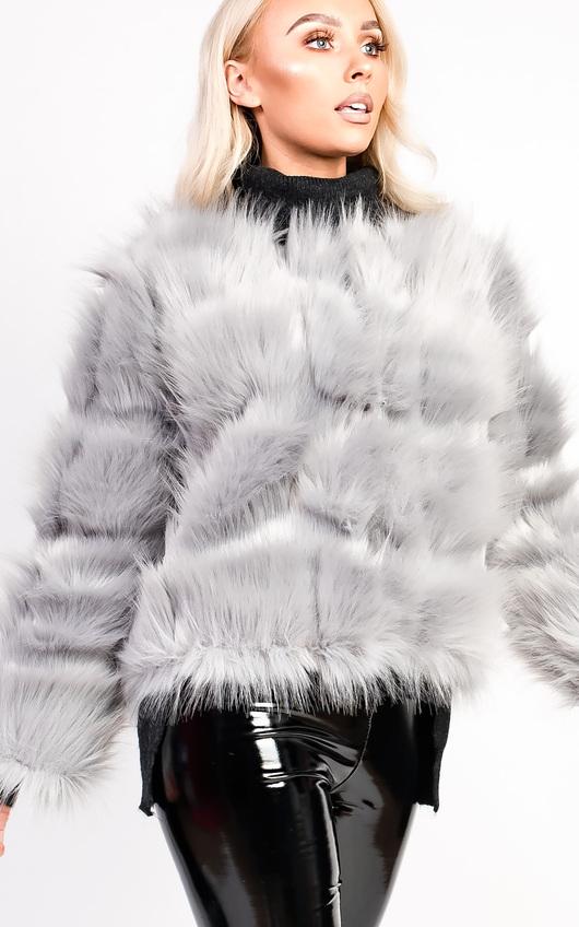 d3a80c6a8ceb Kara Faux Fur Jacket in Grey