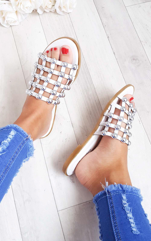 ecf942f462d2 Luisa Studded Caged Open Toe Sliders in White