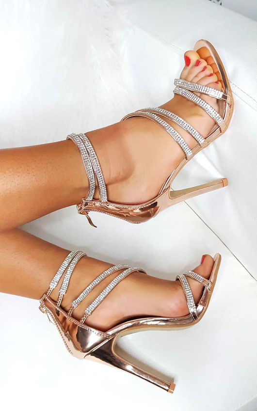 Keira Diamante Multiple Strap Barely There Heels