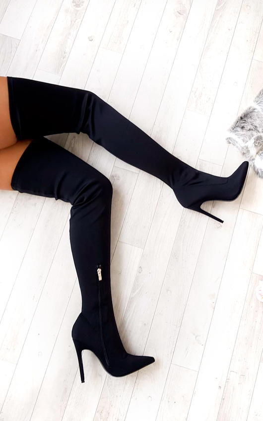 0a3f100583 Zara Stretch Thigh High Boots. HOVER ITEM TO ZOOM