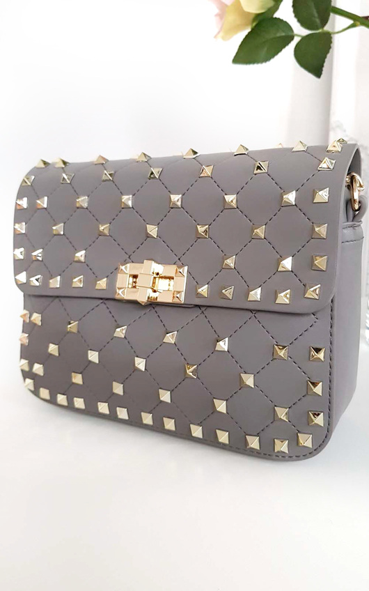 Liah Quilted Studded Shoulder Chain Bag