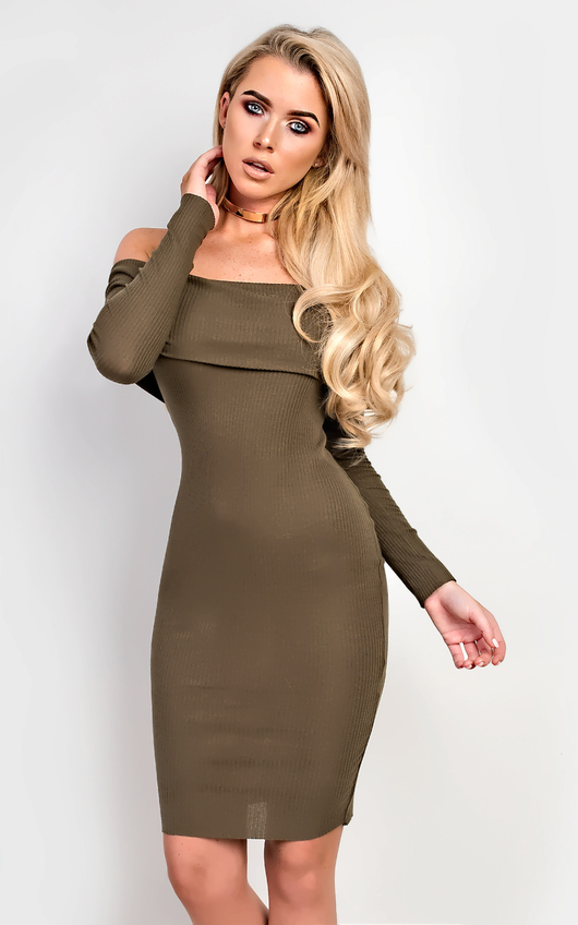 d78605bded93 Caitlyn Off Shoulder Bodycon Dress in Khaki