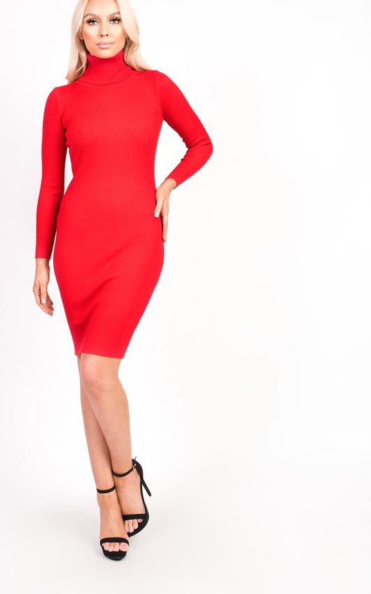 ba015bd4fc3 Jazmin High Neck Longline Jumper Dress in Red