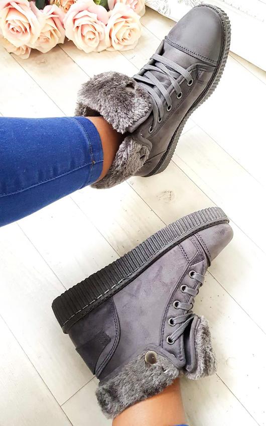 IKRUSH Womens Layla Faux Suede Hi-Top  Platform Boots