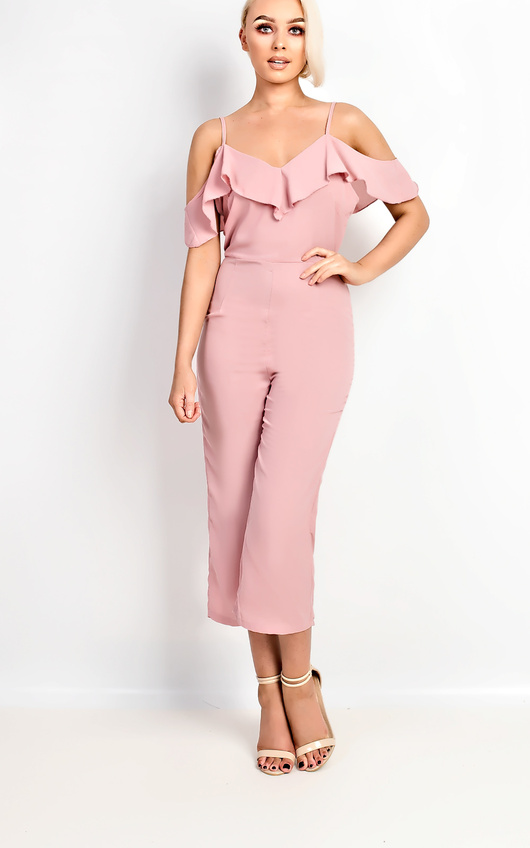 ed7943395530 Aleah Cold Shoulder Frill Jumpsuit Thumbnail