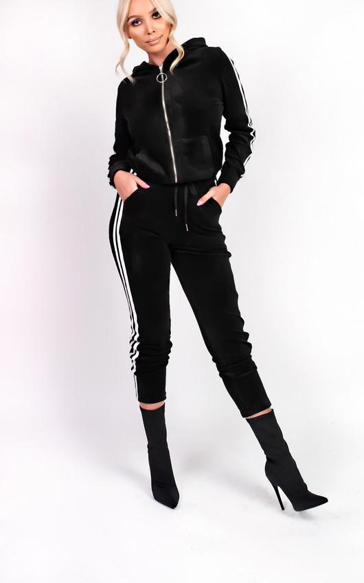 7538f597724 Kourt Stripe Velour Tracksuit in Black
