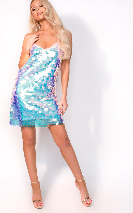 Ayla Holographic Strappy Dress In Pink Ikrush
