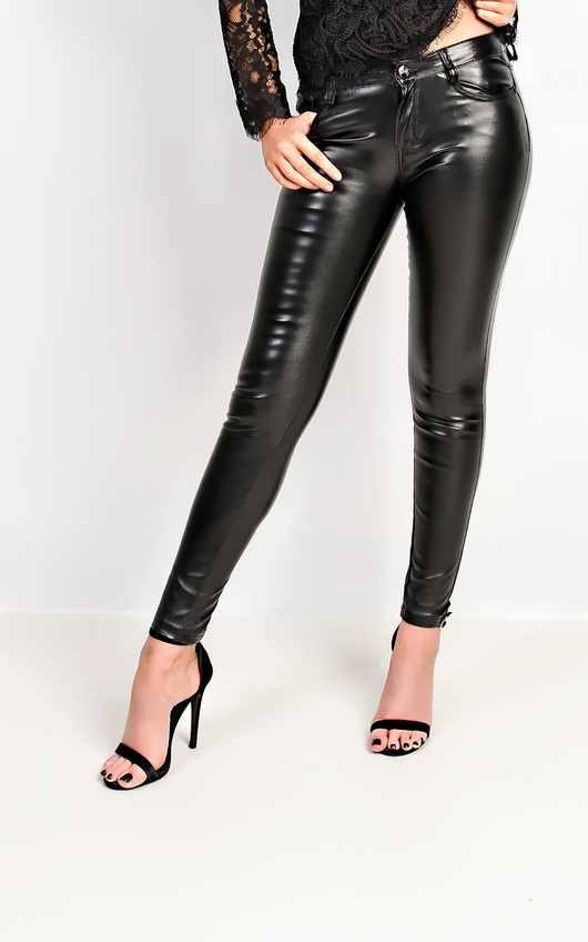 40ea96f2950e7 Krishna Faux Leather Trousers in Black | ikrush