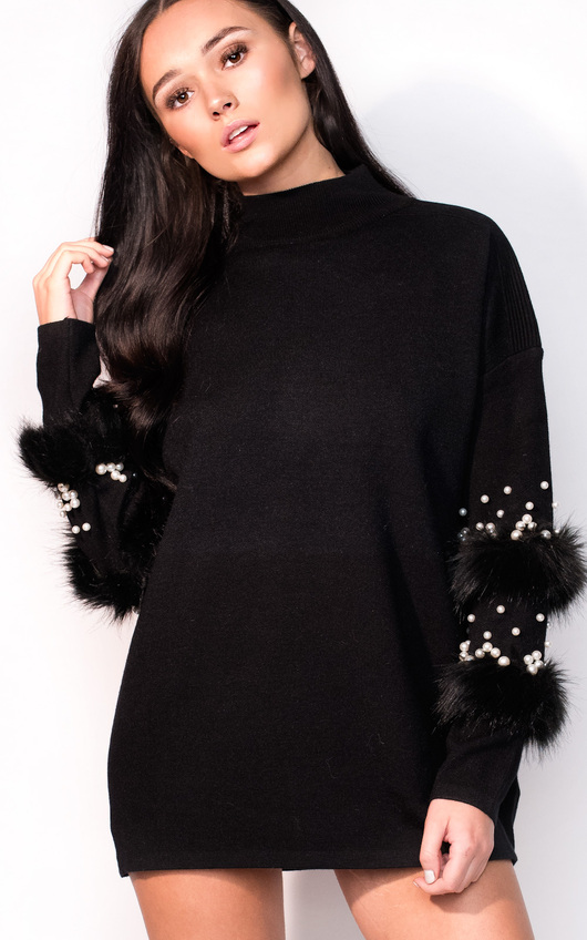 Poppie Faux Fur Knitted Jumper Dress In Black Ikrush