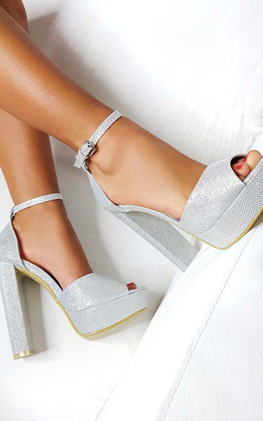 7a4ceb068bf Kirti Peep Toe Block High Heels in Silver