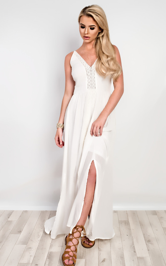bc1abcf4180 Nikki Strappy Maxi Dress in Cream