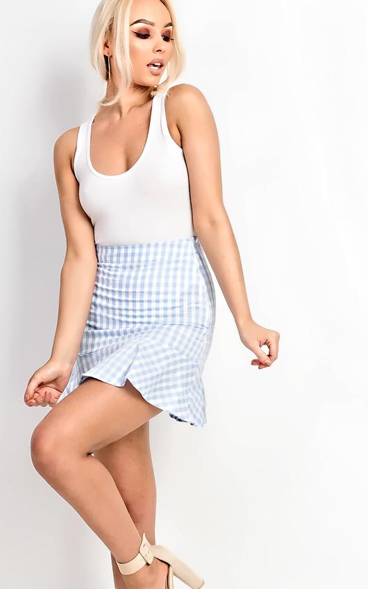 468898e5eb54aa Perla Gingham Frill Trim Mini Skirt in Blue | ikrush