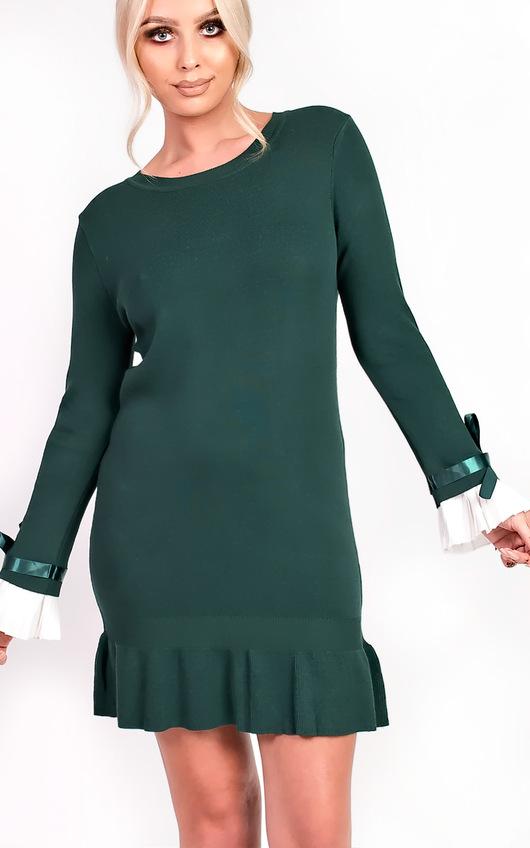 bbb8606773 Cecelia Pleated Sleeves Longline Jumper Dress in Green