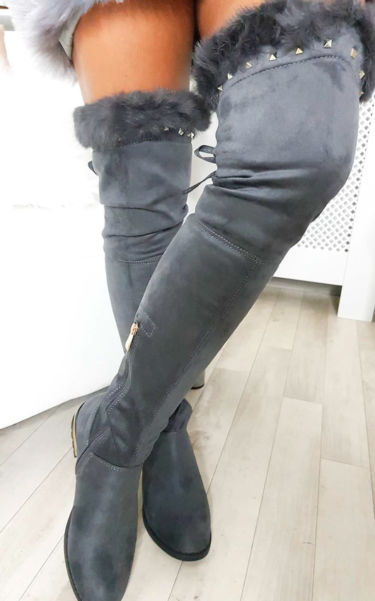 7edf6734544 Carris Studded Faux Suede Fluffy Tassel Knee High Boots in Grey