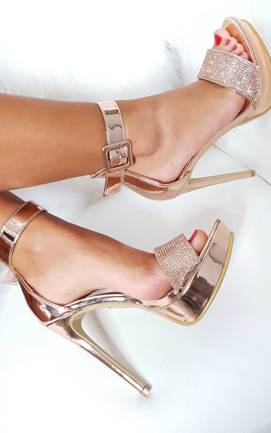 7d55251e46f Paige Diamante Platform Heels in Rose gold
