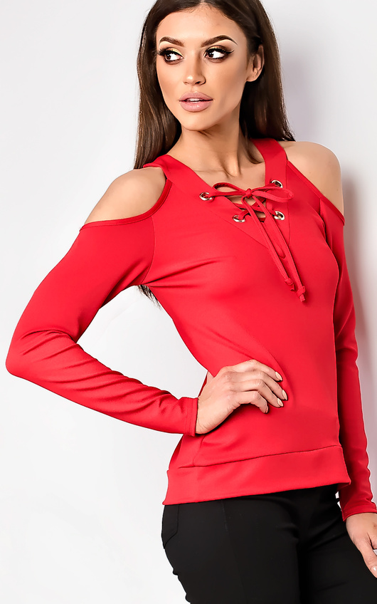 4187e23cc61733 Hettie Eyelet Lace Up Cold Shoulder Top in Red | ikrush