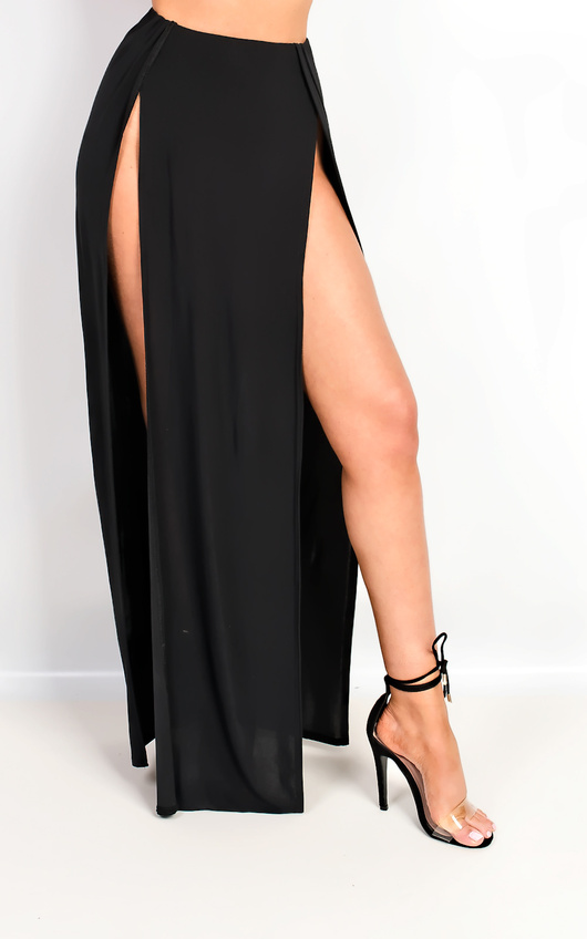 37a0c93f39a Lovato Double Thigh High Split Maxi Skirt in Black | ikrush