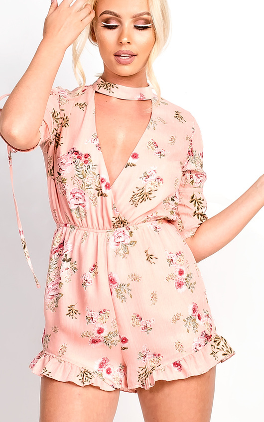 b2d2594d466b Cora Plunge Floral Frill Playsuit. HOVER ITEM TO ZOOM