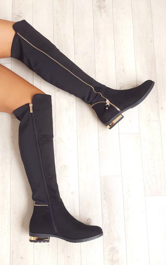 ff8ecc729 Kylie Peep Toe Knee High Boots in Nude