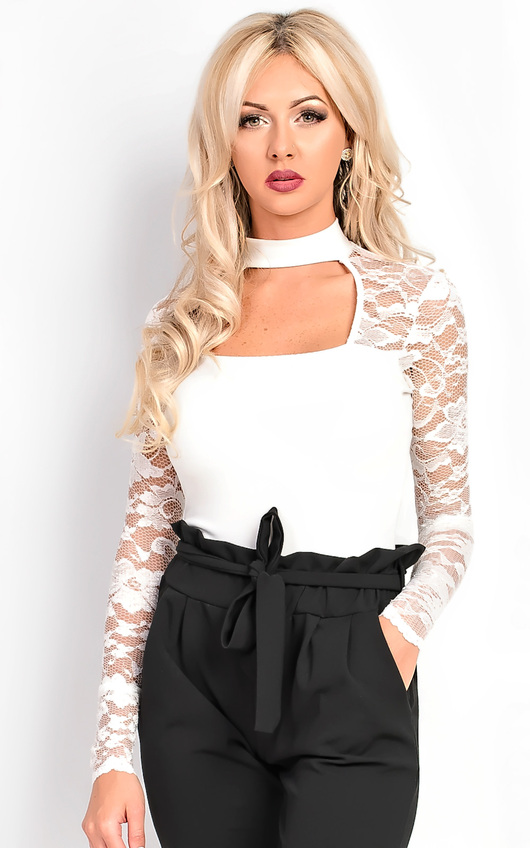 00aae167c0 Elektra Choker Lace Bodysuit in White