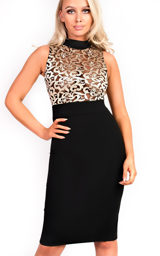 6bdf89960 Nelli Embroidered High Neck Bodycon Dress in Black   ikrush