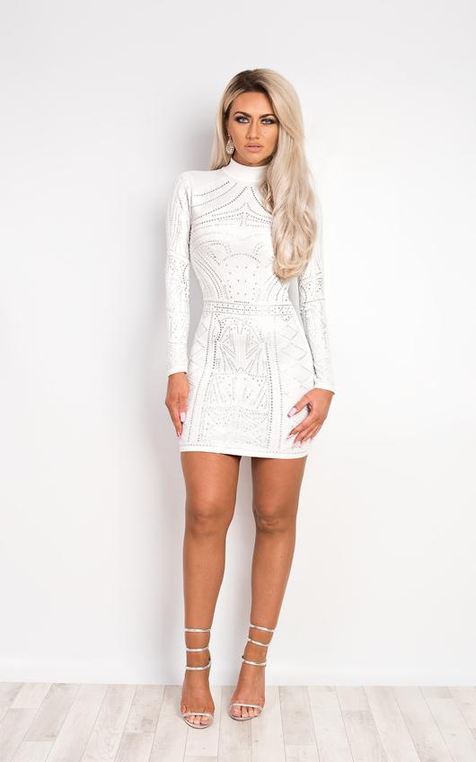 a09958609e6 Elizabeth Beaded Bodycon Dress in Cream