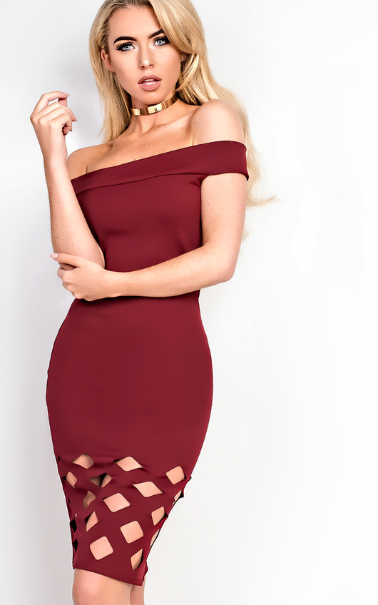 84f9c3a988a0 Nickie Lasercut Off Shoulder Bodycon Dress in Wine
