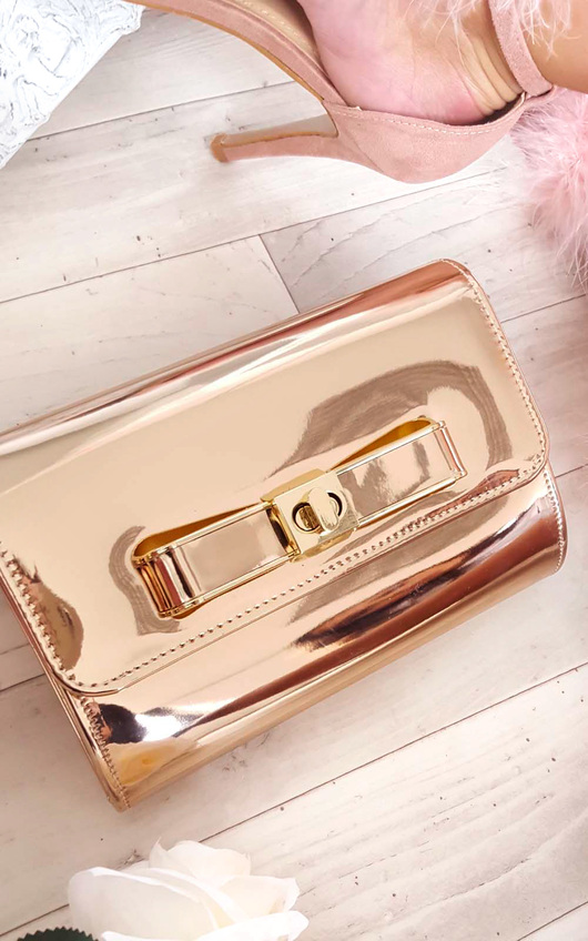 Nadia Metallic Bow Detail Clutch Bag