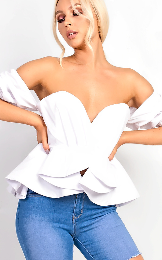 8df2162a94cf Isabelle Bardot Ruffle Sleeve Peplum Top in White | ikrush