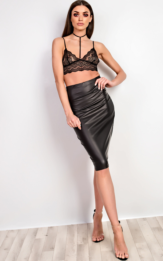 c9d7a4e31e8 Cadie Faux Leather Midi Skirt in Black