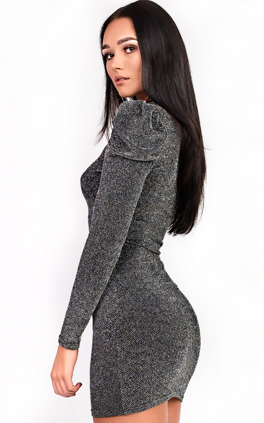 Martina Glitter Bodycon Dress in Silver  40cd3e386eac