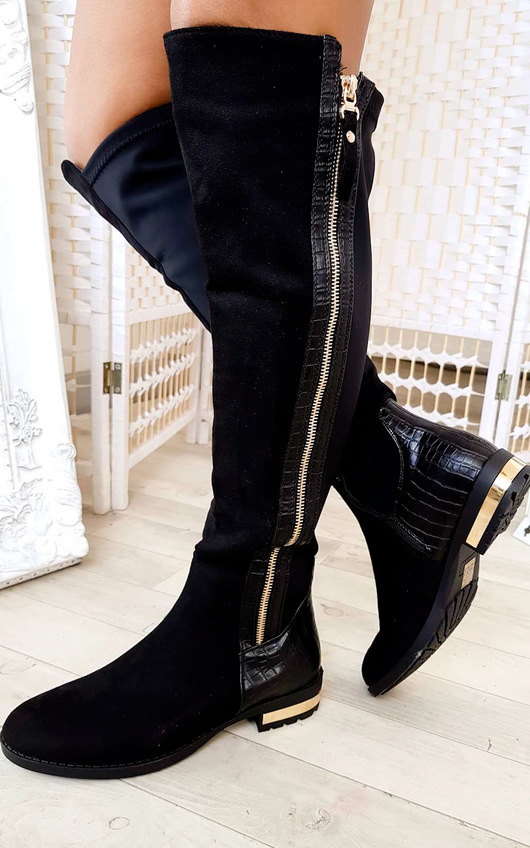 1a9382fe32c76 Tai Faux Suede Gold Bar Knee High Boots in Black | ikrush
